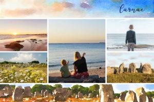 Carte postale de Carnac avec menhirs
