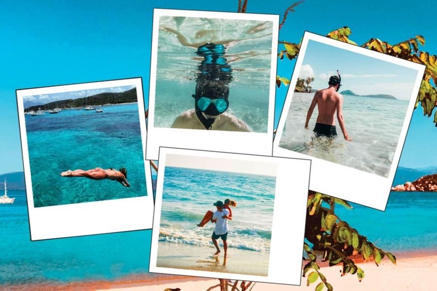 Carte quatre photos avec plage