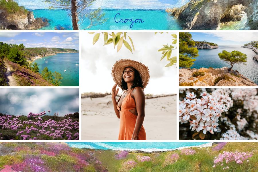 Carte avec photo de l'île de Crozon
