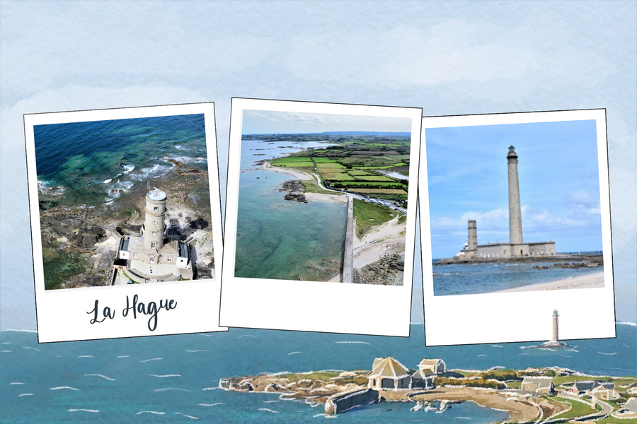 Carte avec photo Cap de La Hague Nord Cotentin