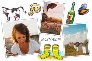 Carte postale photo de Normandie avec bottes, vache, camembert et cidre