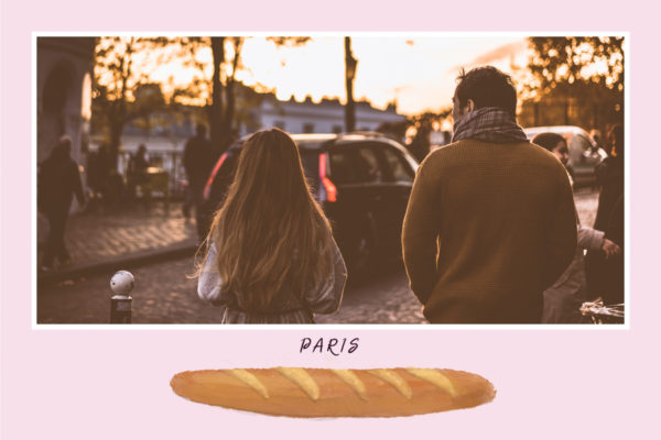 Carte postale photo Paris avec baguette