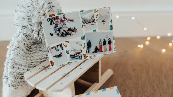 Carte postale personnalisee du ski avec photos