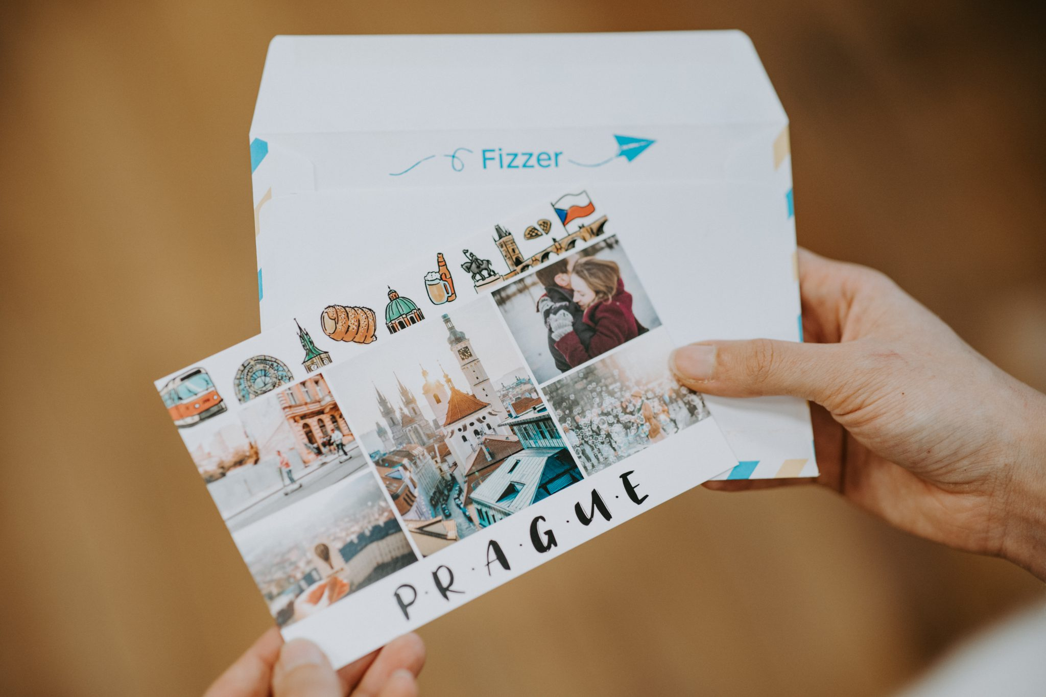 carte postale prague format 10x15cm