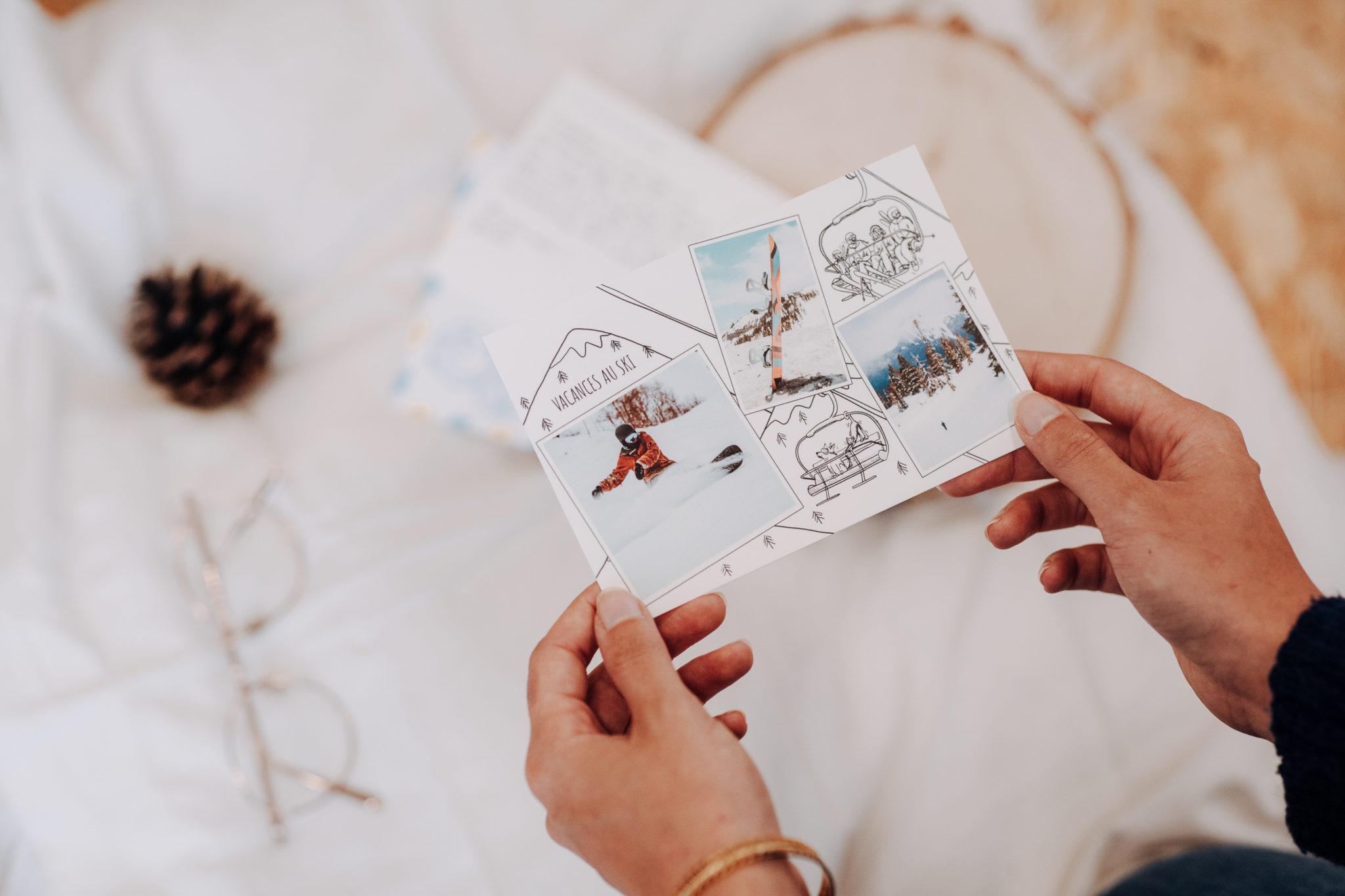 carte postale vacances au ski