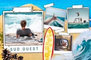 Carte quatre photos avec planche de surf Sud Ouest