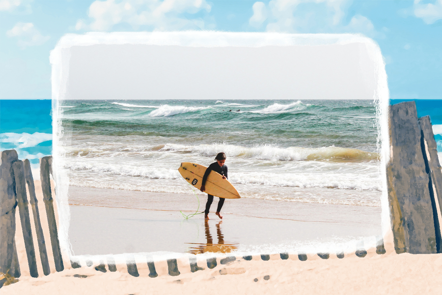 illustration plage avec photo de surfeur