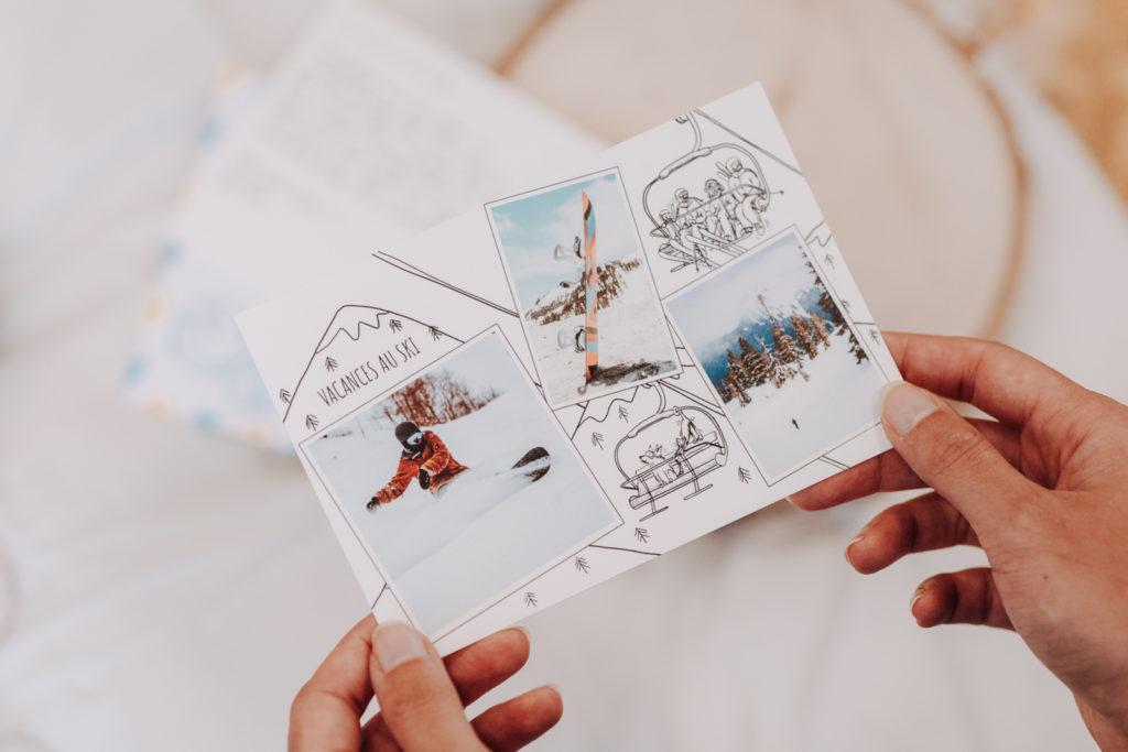 Carte postale ski avec photos pour amis