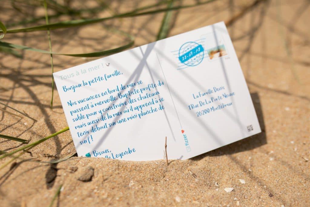 Verso personnalisé d'une carte postale Fizzer