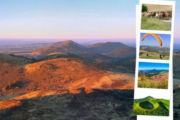 Carte postale des volcans d'Auvergne avec photos