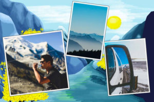 Carte de montagne bleue et jaune avec photos