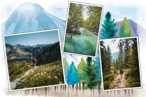 Carte postale montagne trois photos
