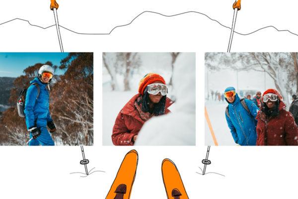 carte ski neige et batons