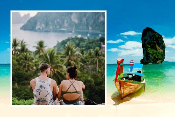 carte postale bateau thailande