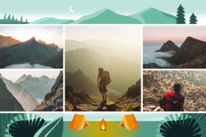 Carte postale camping en montagne