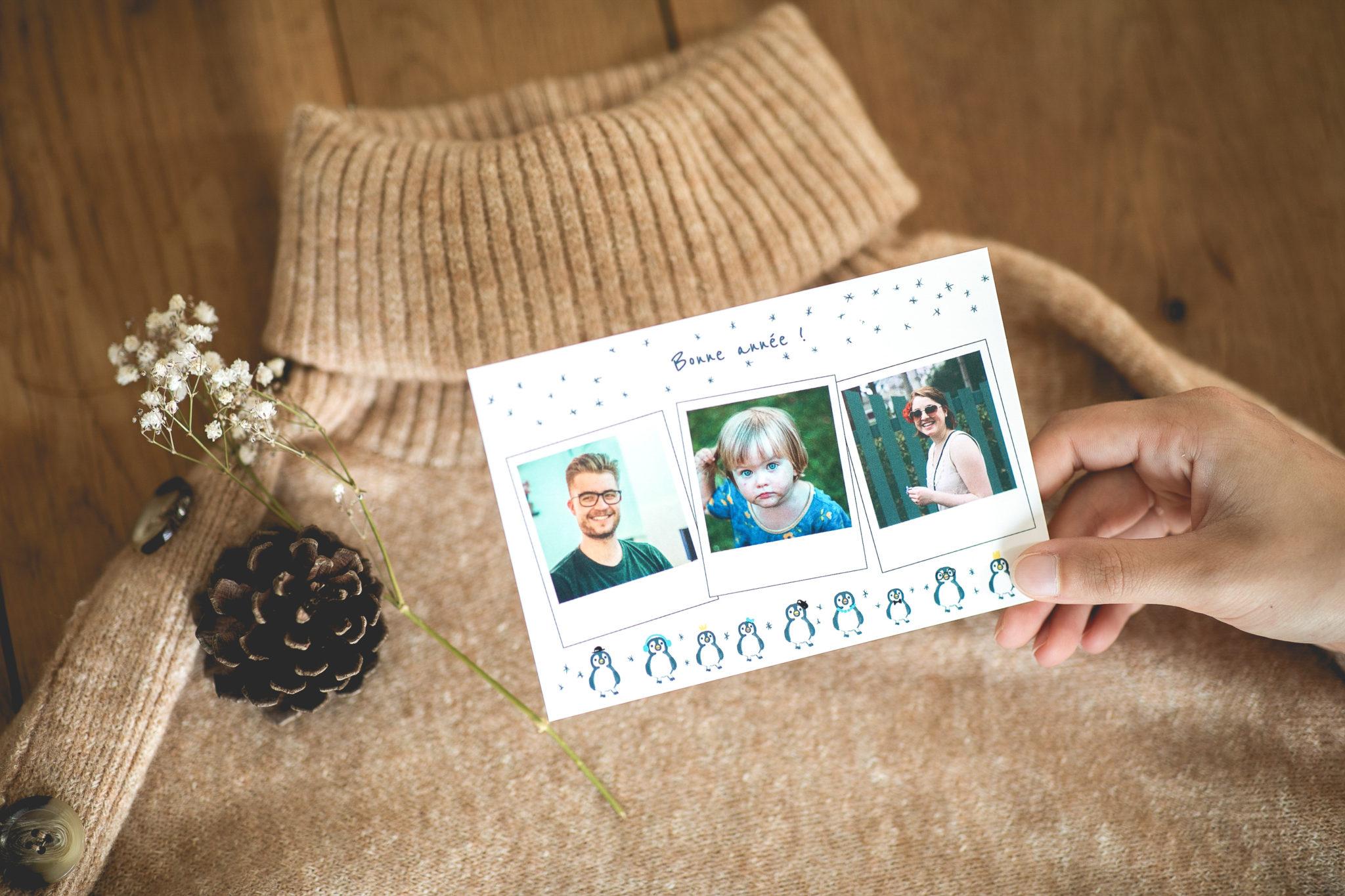 Carte de voeux Entreprise postale de bonne annee avec photos