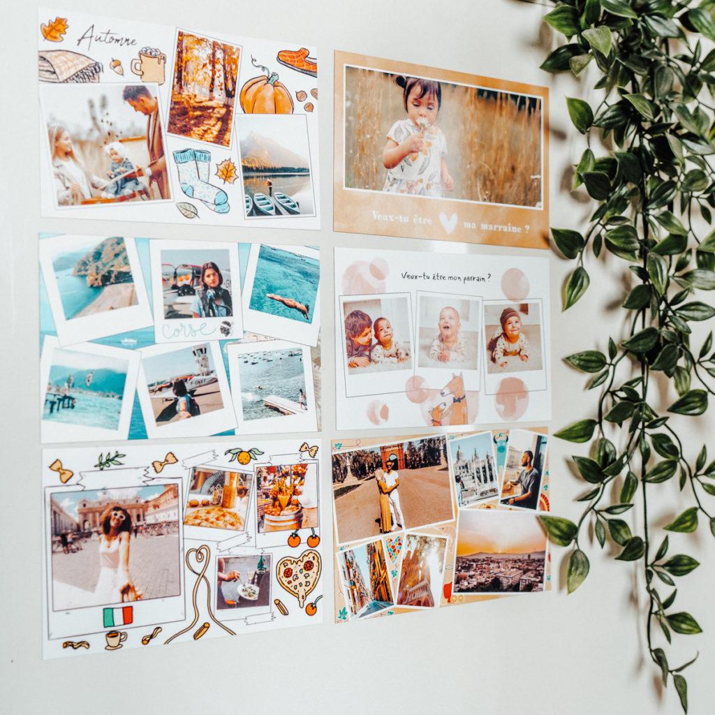 six cartes aimantees sur frigo avec plante