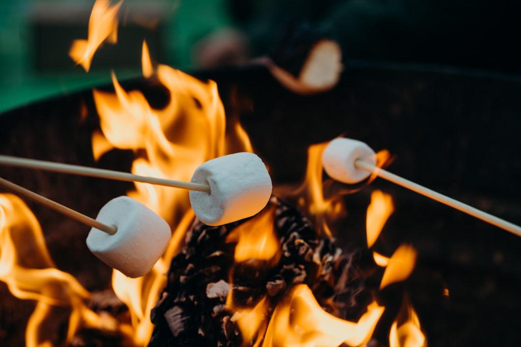 Chamallow grille au feu de bois