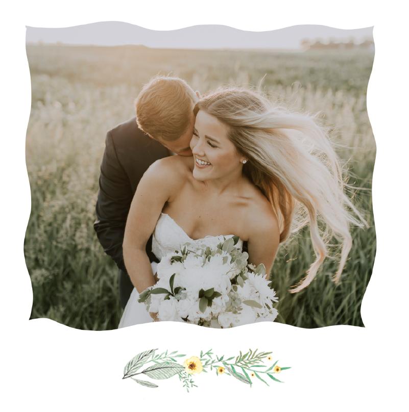faire-part de mariage champetre avec brin de nature