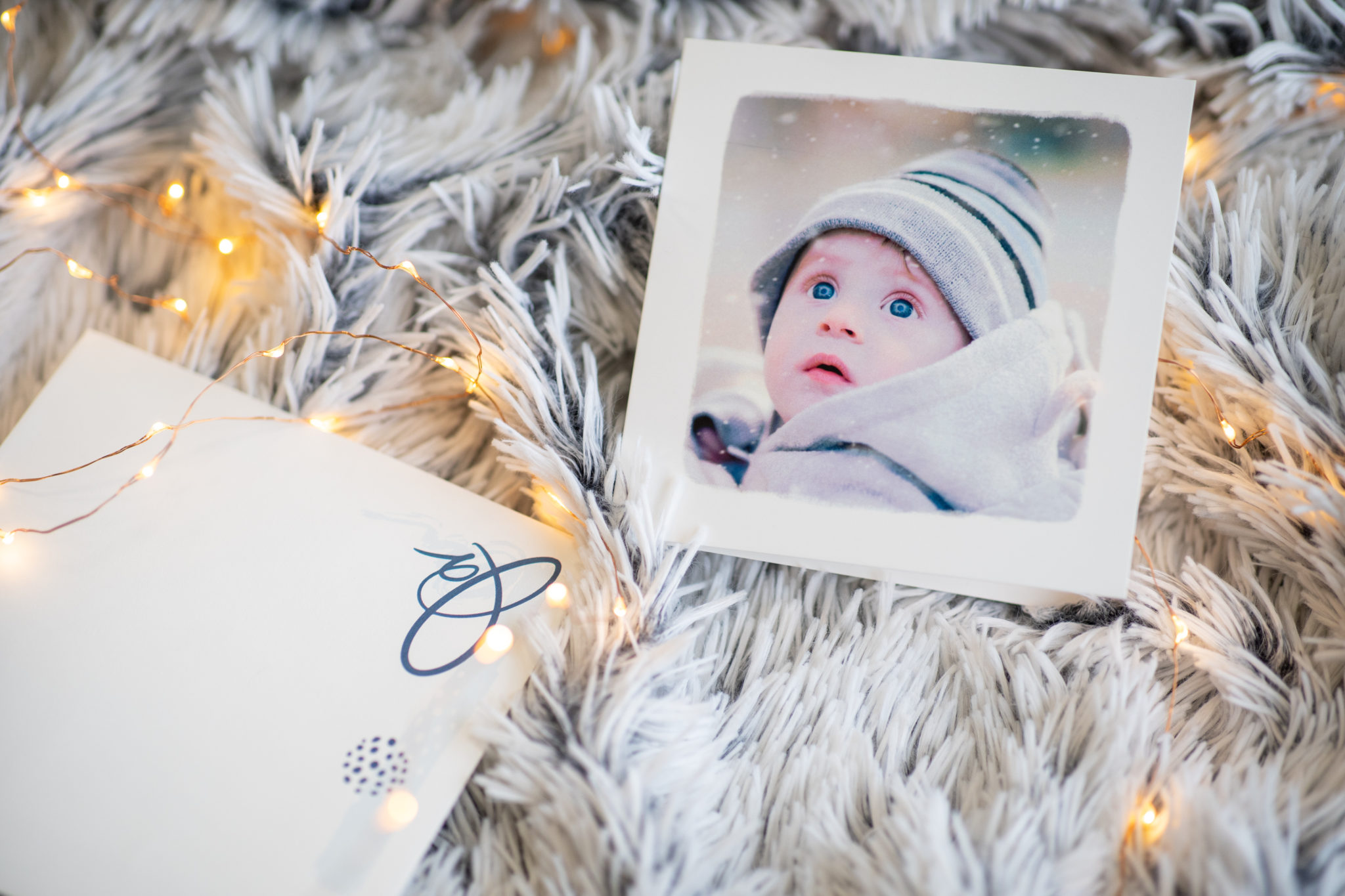 carte avec photo unique bebe et guirlande