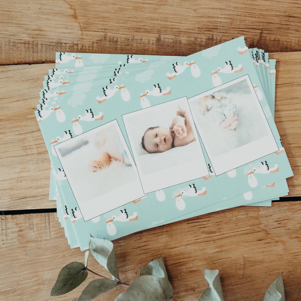 lot de cartes bebe avec cigognes