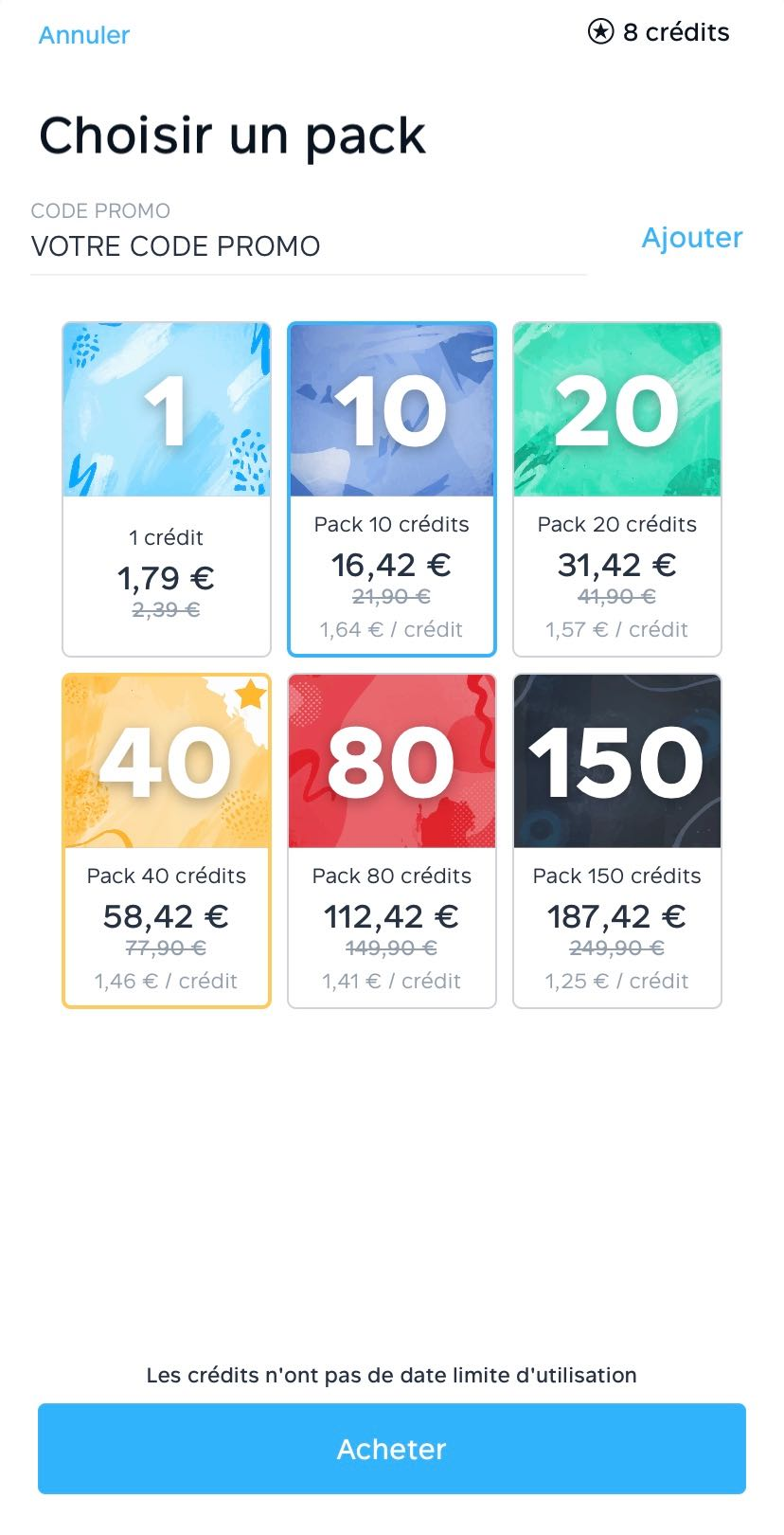 Ensemble des packs de credits disponibles sur l application Fizzer