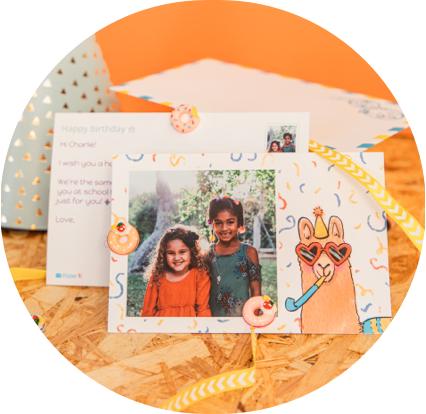 birthday invitation postcard with llama and confetti