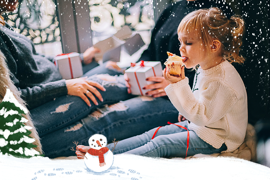 carte bonhomme de neige avec fille et cupcake