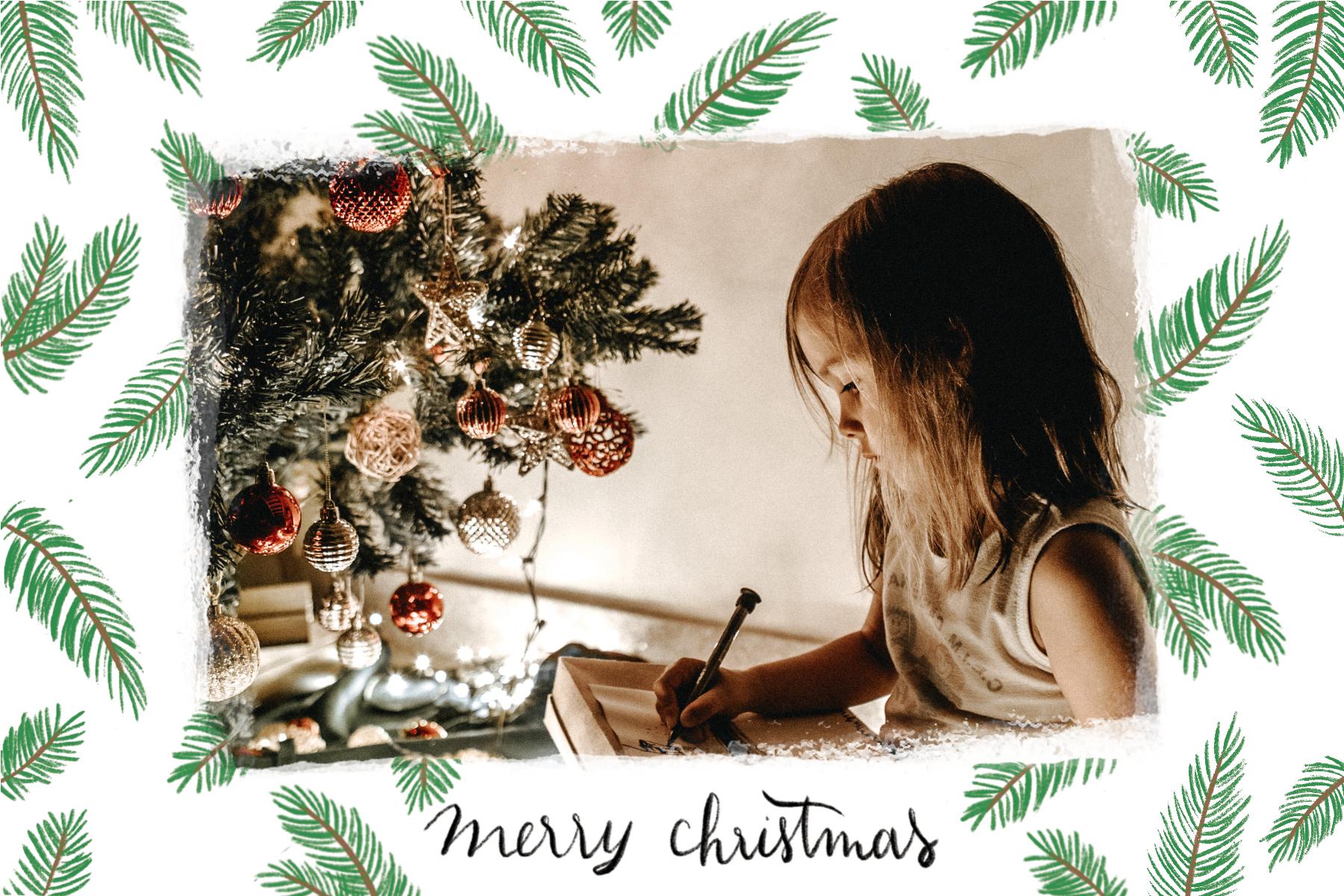 Carte Joyeux Noel avec branches de sapin