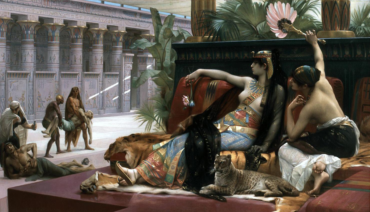 Peinture de Cleopatre et Cesar belles histoires d'amour