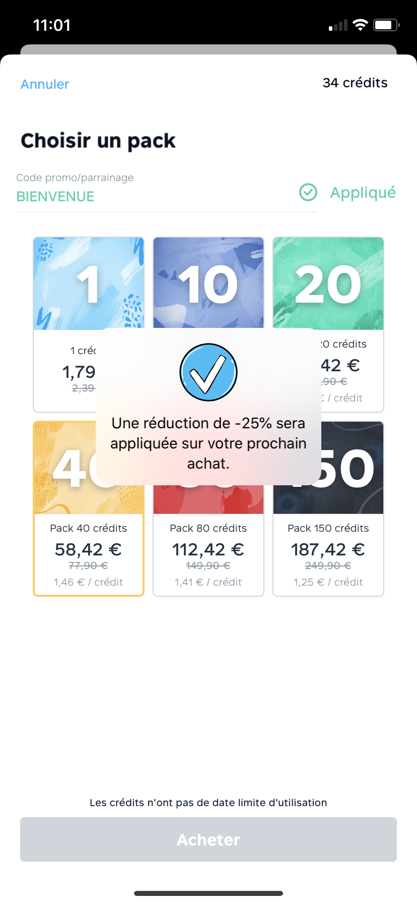 Validation du code promo Fizzer