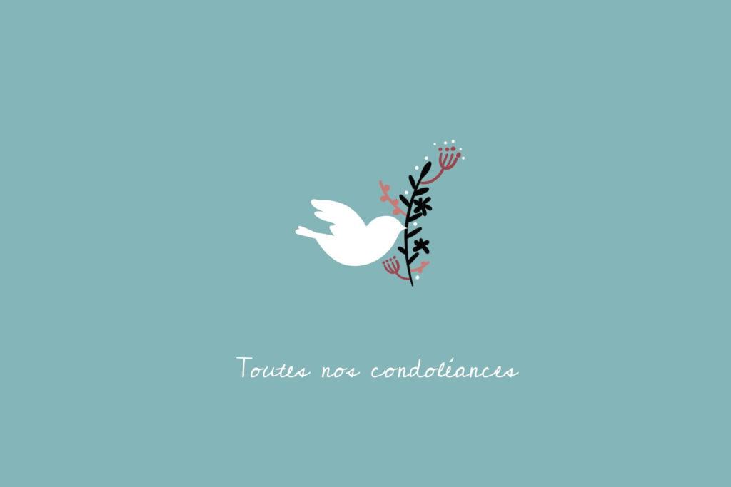 carte de condoleances bleue avec colombe