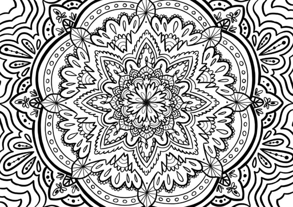 Coloriage anti-stress mandala traditionnel pour l'ete