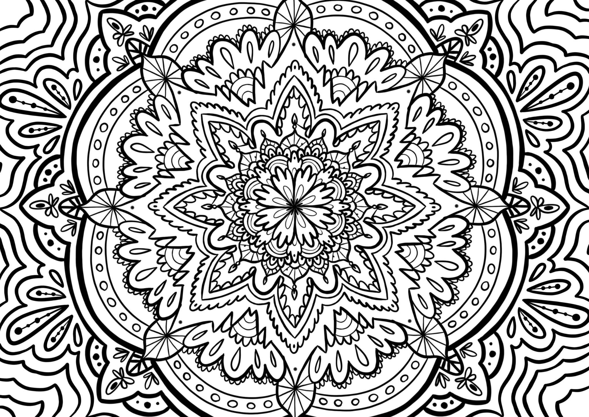 Coloriage anti-stress mandala traditionnel pour l'ete