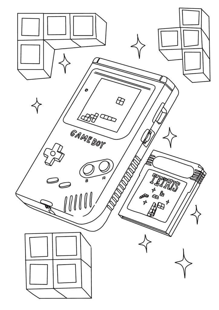 Coloriage anti-stress retro Game Boy