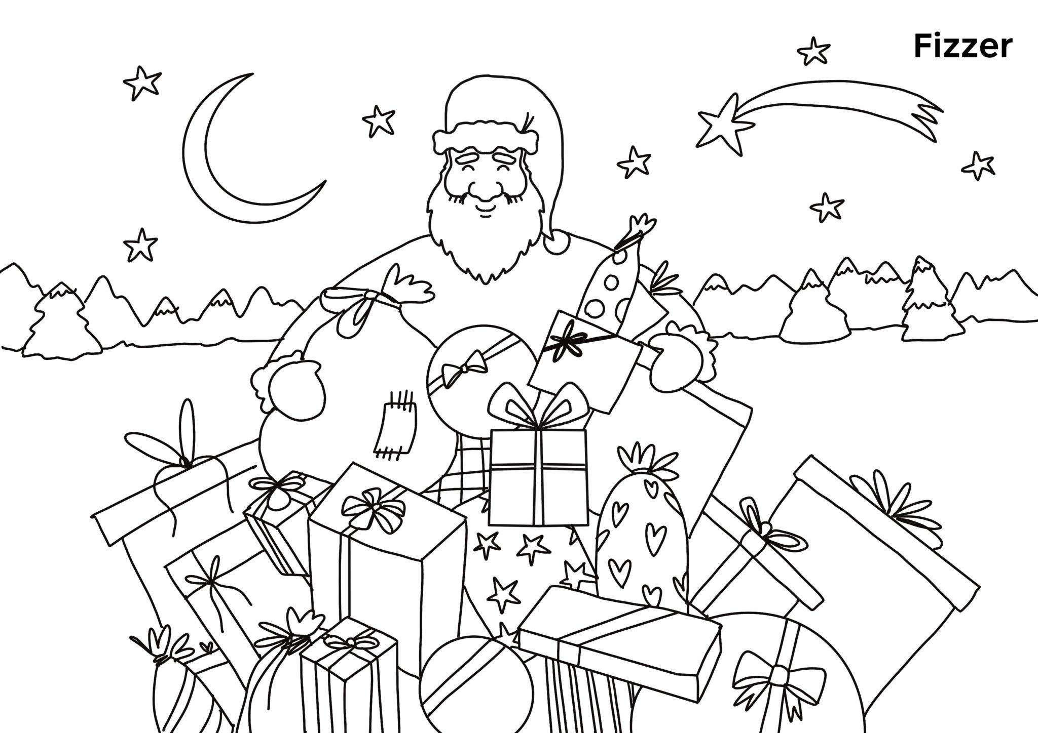 Coloriage de Noël féérique à imprimer pour enfants