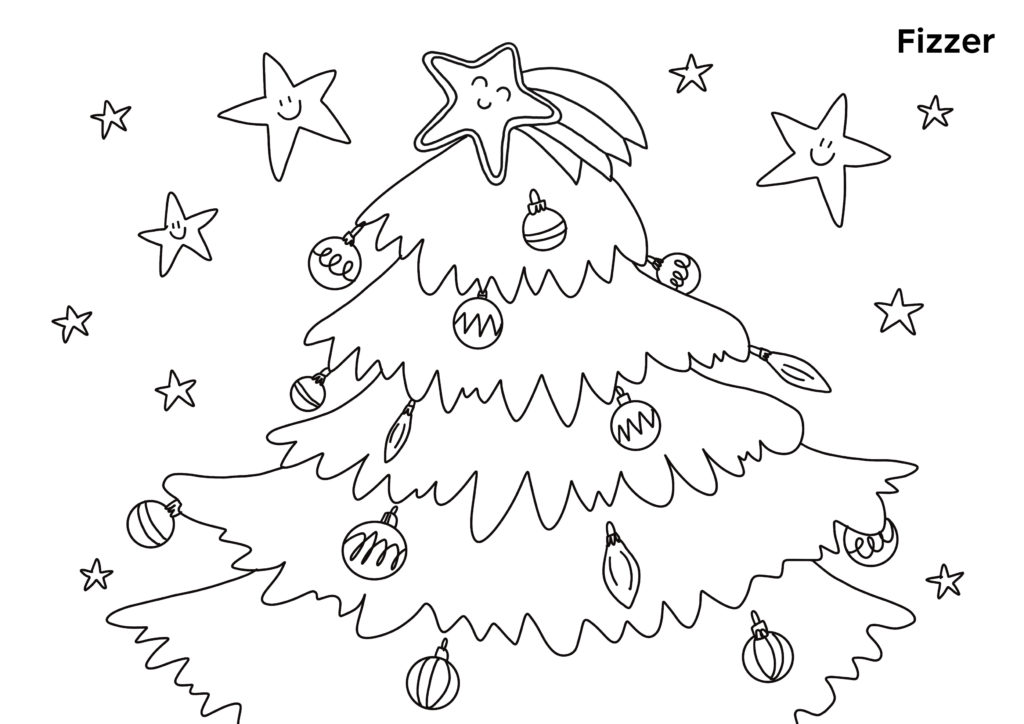 Coloriage Sapin de Noel et etoiles