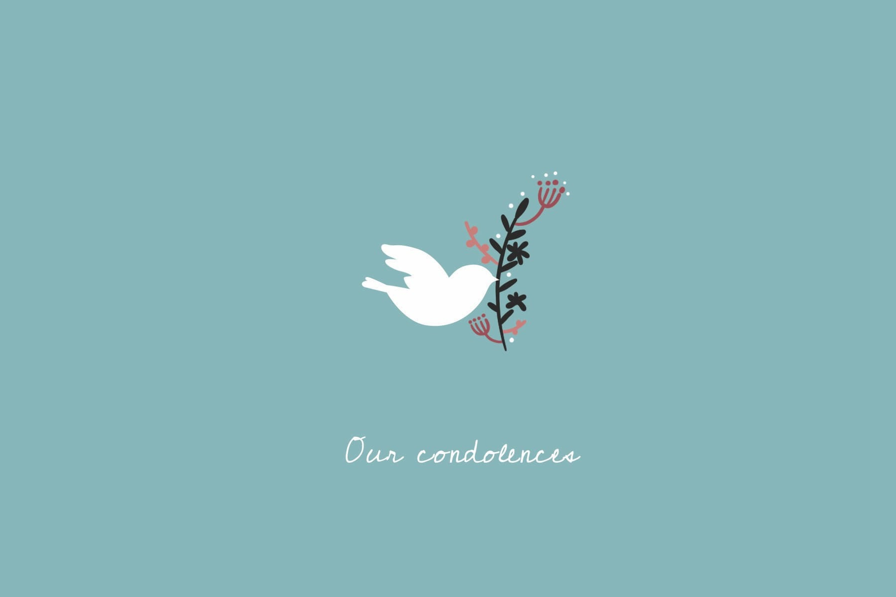 blue condoleances card with dove