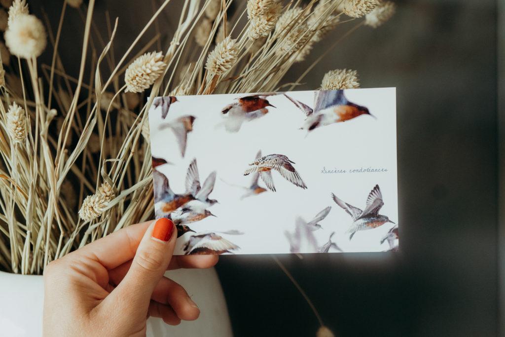 carte condoleances avec oiseaux sinceres condoleances