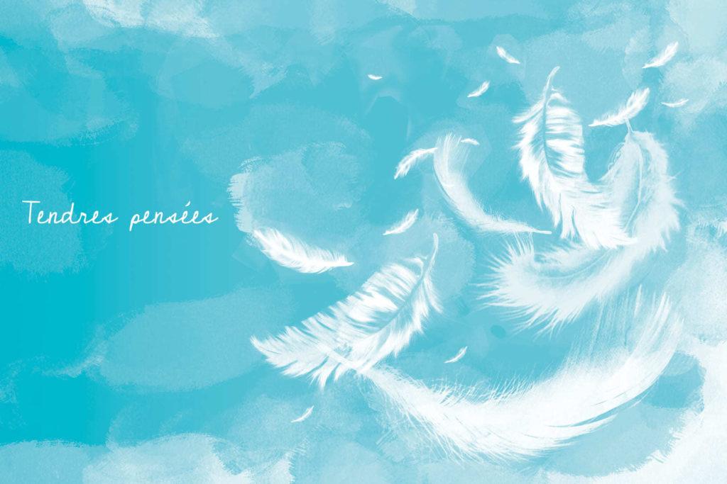 carte de condoleance bleue avec plumes