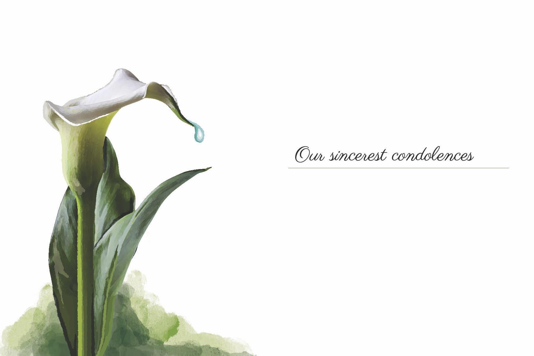 our sincerest condeoleances white flower card
