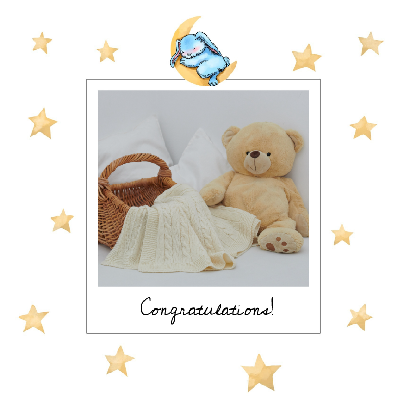 birth congratulations card with yellow stars and moon