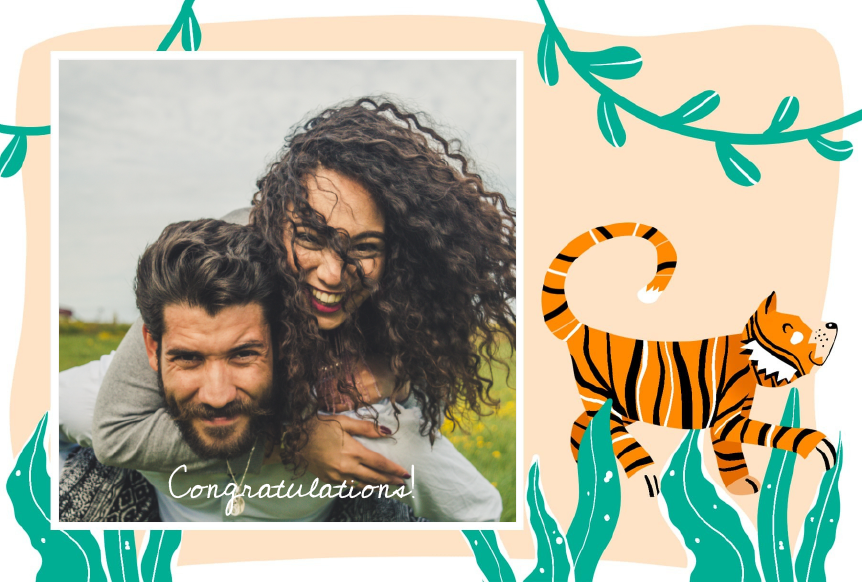 congratulations postcard with tiger