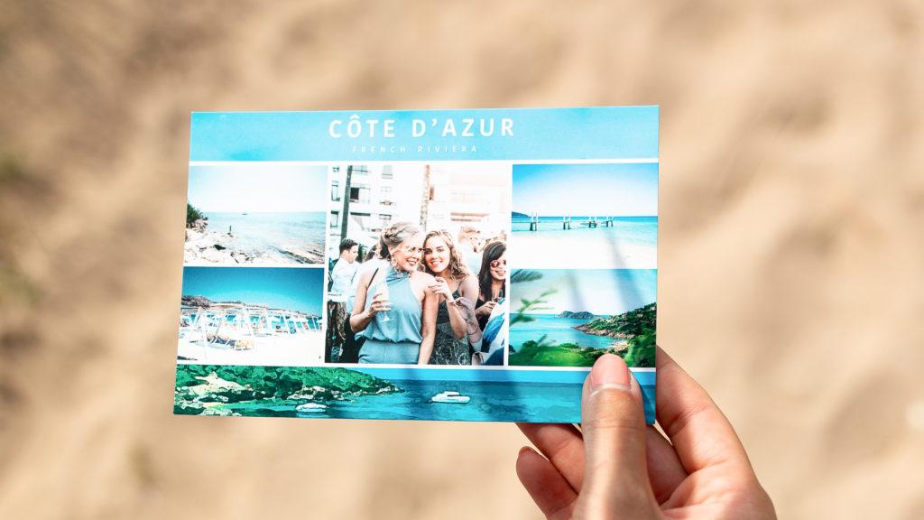 Carte postale avec photos de Cote d'Azur sud de la France