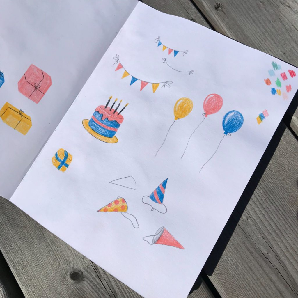 Dessins de ballons, fanions et gâteau d'anniversaire