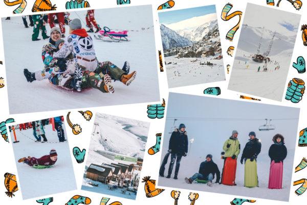 carte avec dessins vetements de ski