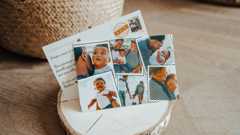 Exemple de carte postale pour des amis avec photos du quotidien