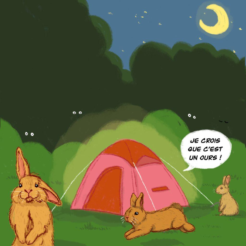 Carte postale personnalisée drôle d'été : dormir dans une tente