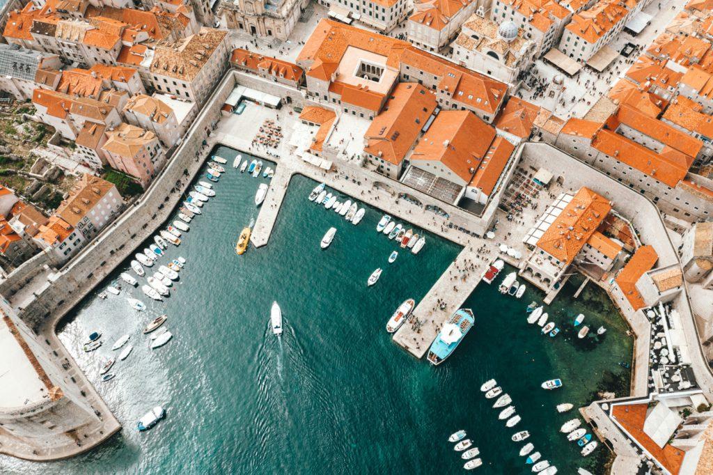 Vue aérienne de Dubrovnik en Croatie