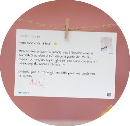 verso carte postale avec texte d'anniversaire